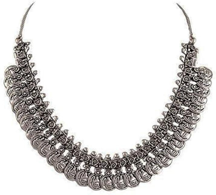 flipkart black metal necklace