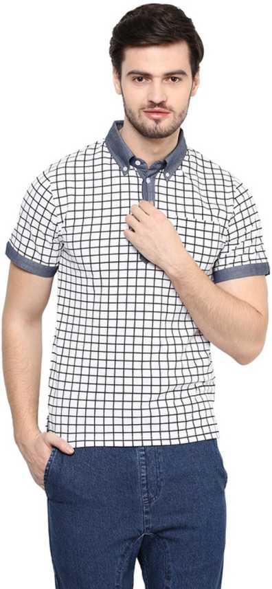 71fbcad7a Hypernation Checkered Men's Polo Neck White T-Shirt - Buy White Hypernation  Checkered Men's Polo Neck White T-Shirt Online at Best Prices in India ...