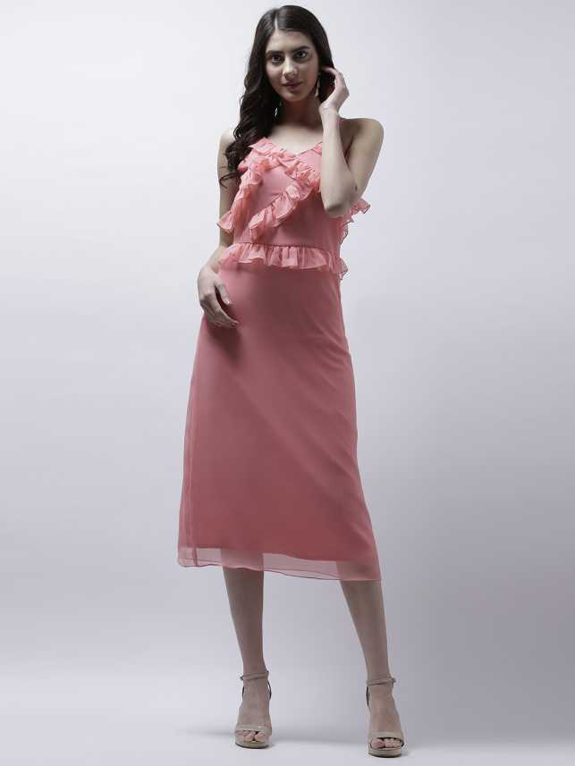 6dcacf524445 Athena Women s A-line Pink Dress - Buy Athena Women s A-line Pink Dress  Online at Best Prices in India