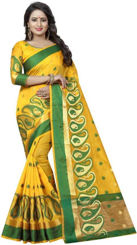 3e5e8ca95 Buy SATYAM WEAVES Woven Banarasi Cotton Silk Yellow, Green Sarees Online @  Best Price In India | Flipkart.com