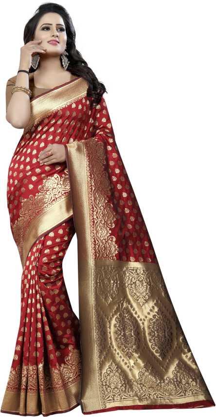 dc2dd505d2 Buy MANJULA SAREE Self Design Kanjivaram Cotton Silk Red Sarees Online @  Best Price In India | Flipkart.com