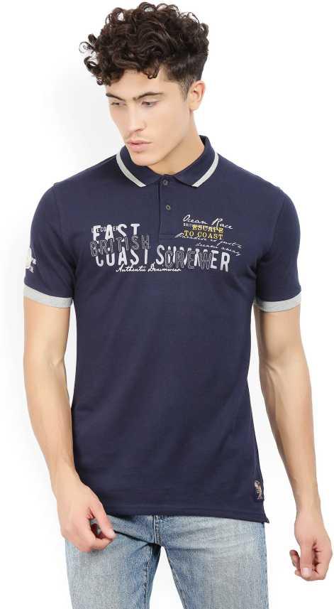 2e90463a2 Lee Cooper Printed Men Polo Neck Dark Blue T-Shirt - Buy NAVY Lee ...