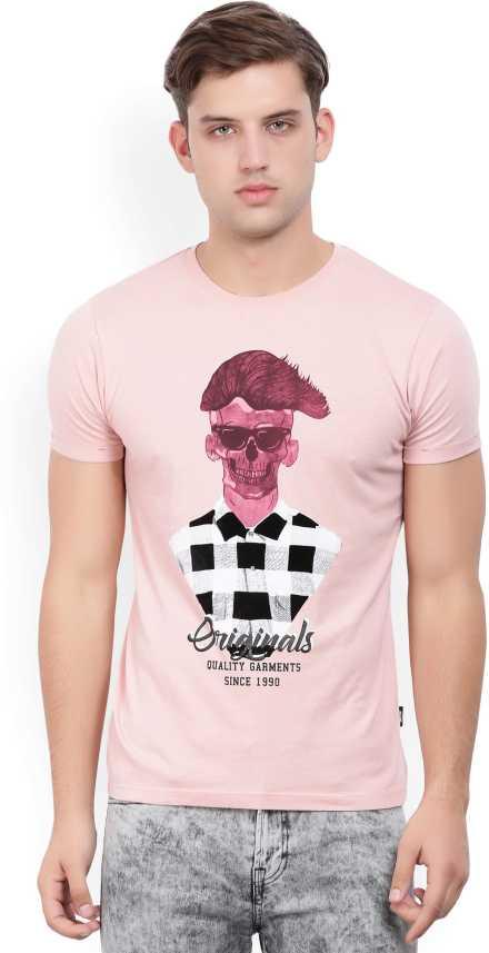 660da9aa890f Jack & Jones Printed Men's Round Neck Pink T-Shirt - Buy Silver Pink Jack &  Jones Printed Men's Round Neck Pink T-Shirt Online at Best Prices in India  ...
