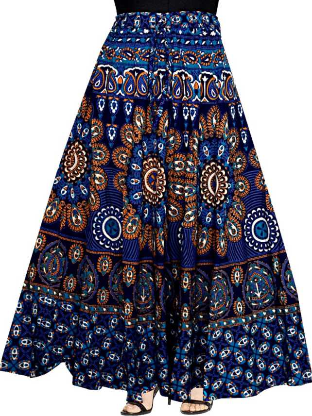 1d6e2b15ba Silver Organisation Printed Women Wrap Around Blue Skirt - Buy ...