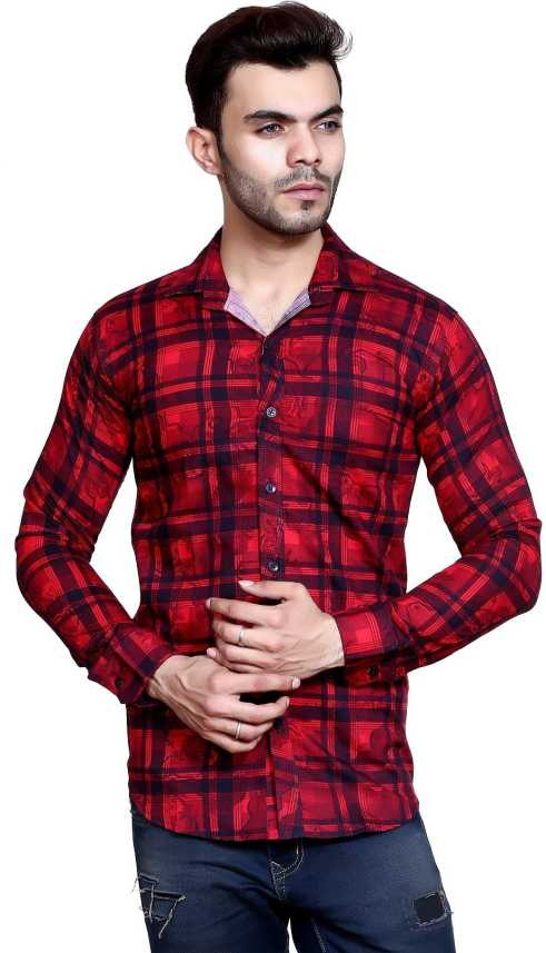 ca15d65e02d0 FabTag - Mesh Men s Checkered Casual Red Shirt - Buy Red FabTag ...