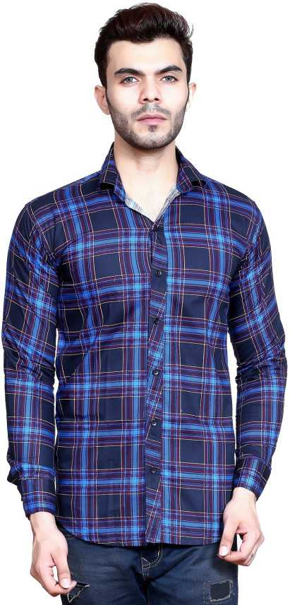 832273bcf70f FabTag - Mesh Men s Checkered Casual Purple Shirt - Buy Purple ...