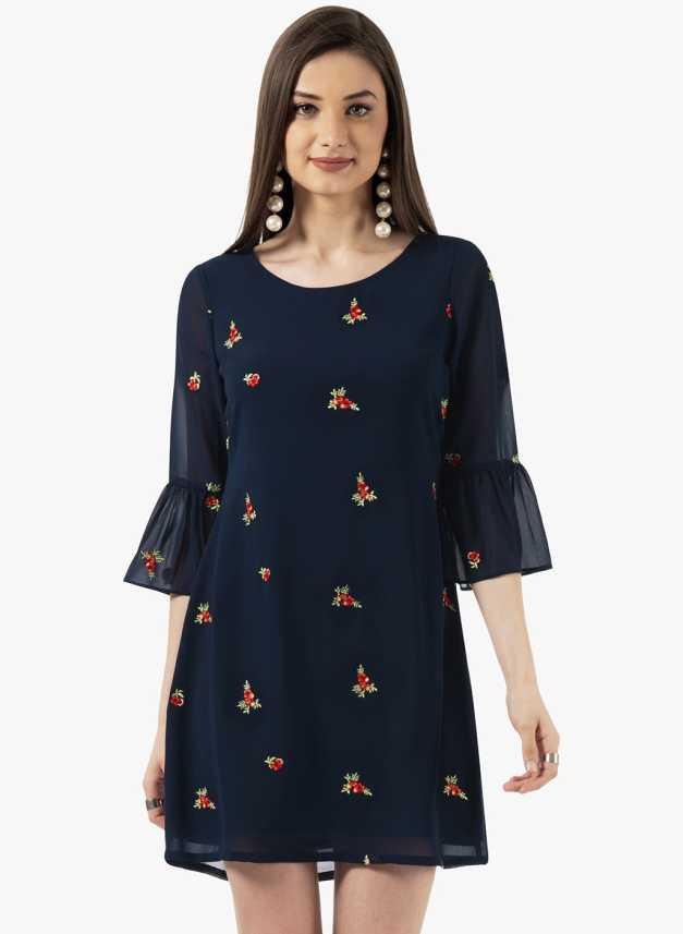 2560444b197 FabAlley Women Shift Dark Blue Dress - Buy FabAlley Women Shift Dark Blue Dress  Online at Best Prices in India