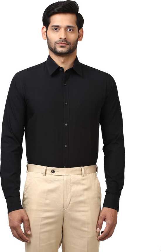 5d3ea9b84 Park Avenue Men s Solid Formal Black Shirt - Buy Park Avenue Men s ...