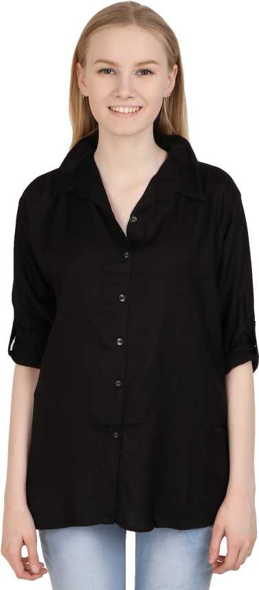 687b2a8fb0adc Western World Women Solid Formal Black Shirt - Buy Western World ...