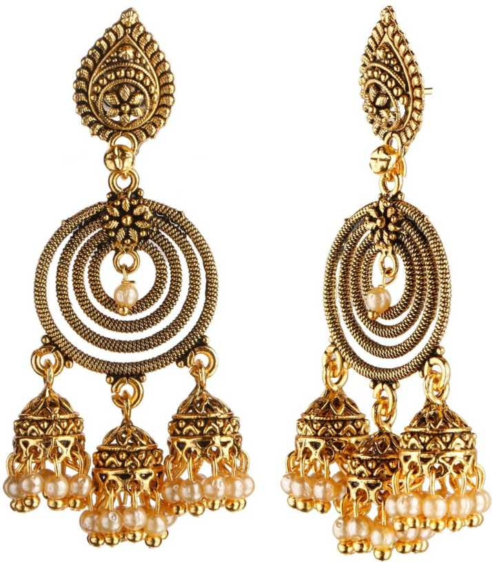 ed27d1c68f5 Efulgenz Efulgenz Fashion Jewellery Stylish Oxidised Gold Plated Fancy  Party Wear Traditional Jhumka Jhumki Earrings for Girls and Women Love Gift  Alloy ...