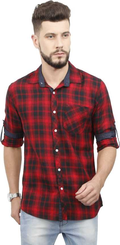 18a9216b9487 Rope Men s Checkered Casual Red Shirt - Buy Rope Men s Checkered Casual Red  Shirt Online at Best Prices in India