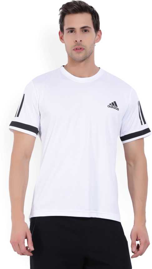810c094ba75 ADIDAS Solid Men Round Neck White T-Shirt - Buy White ADIDAS Solid Men  Round Neck White T-Shirt Online at Best Prices in India