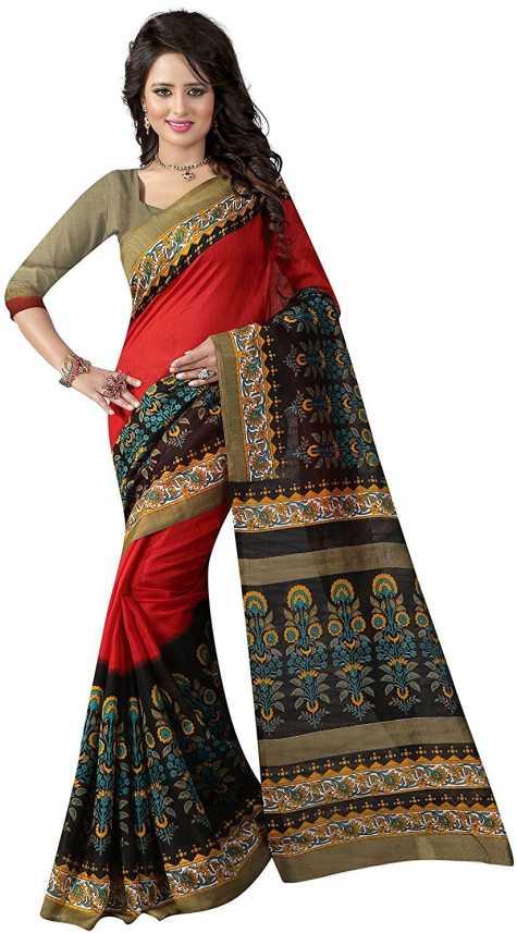 35581b0a9de Buy Vedant Vastram Printed Bhagalpuri Art Silk Multicolor Sarees Online    Best Price In India