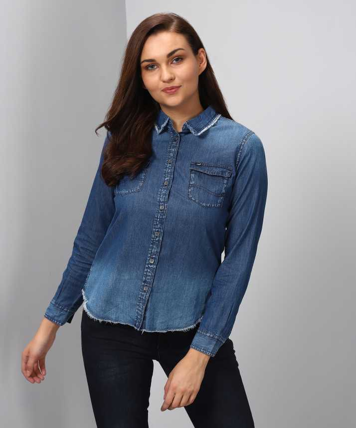c4bc139f5f8b9 Lee Women s Solid Casual Light Blue Shirt - Buy Navy Blue Lee Women s Solid  Casual Light Blue Shirt Online at Best Prices in India