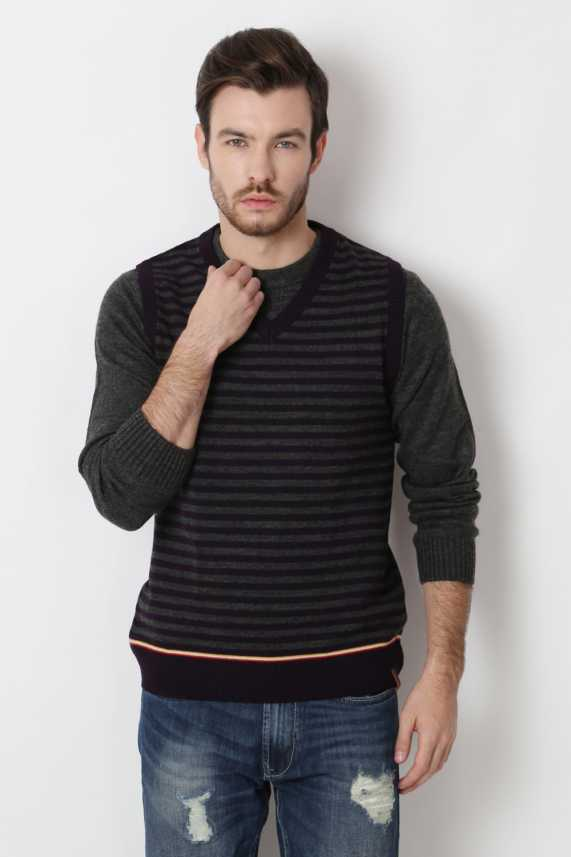 Peter England Striped V neck Casual Men Purple Sweater Buy