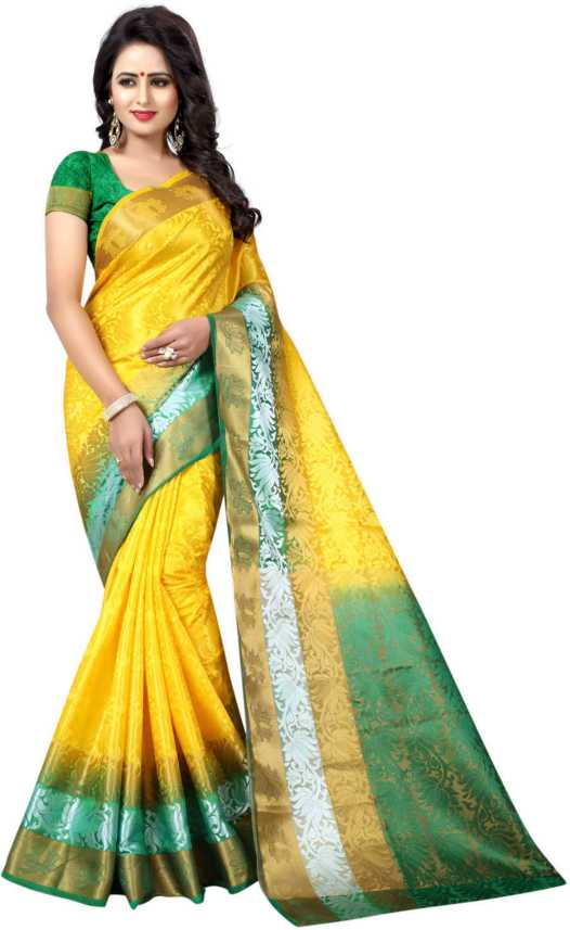8577c35f209611 SATYAM WEAVES Self Design Banarasi Cotton Silk Saree (Yellow