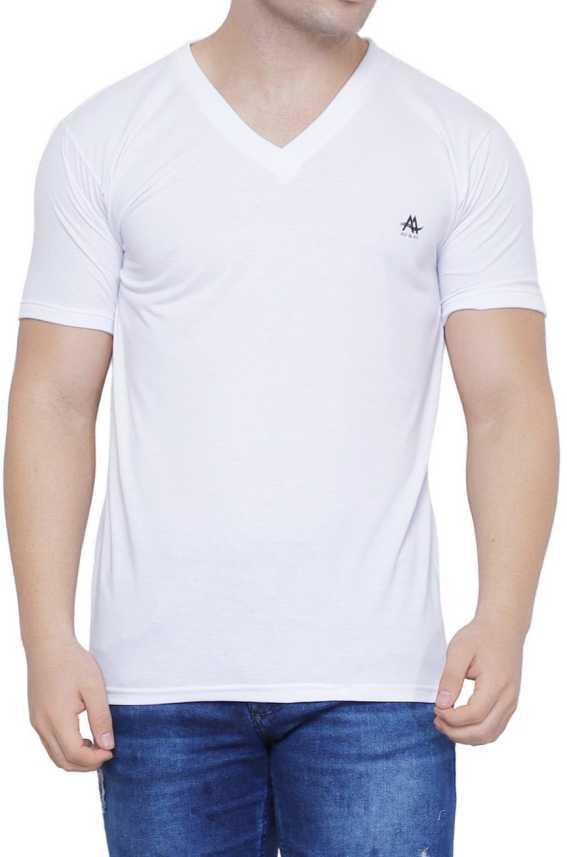 Ad Av Solid Men V Neck White T Shirt