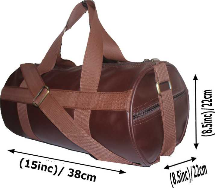 Jaisboy Sports Gym Bag Duffle For Men And Women Fitness Size 38cm X 22cm Brown Color Pu Leather Bags With Side Pocket