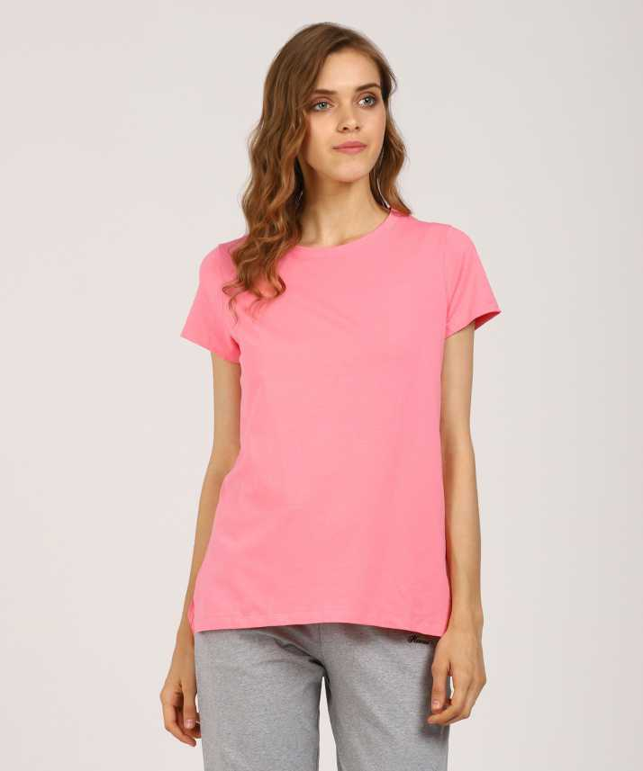 232450682d4 Hanes Solid Women Round Neck Pink T-Shirt - Buy Baby Pink Hanes Solid Women  Round Neck Pink T-Shirt Online at Best Prices in India