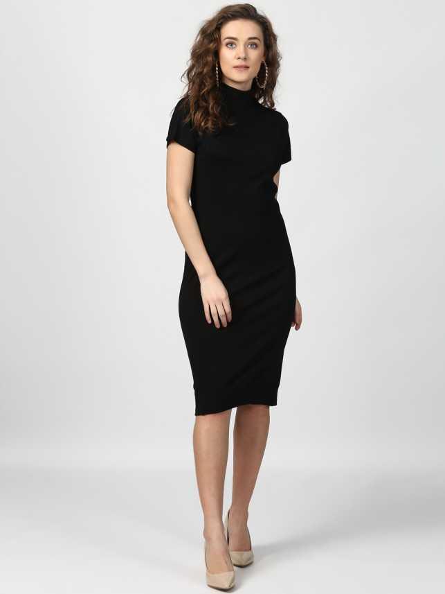 9b9d2685c5b4 Harpa Women s Bodycon Black Dress - Buy Harpa Women s Bodycon Black Dress  Online at Best Prices in India