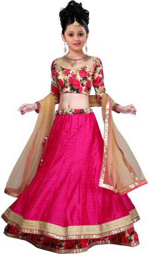 e2d4238c03 BAWRI Girls Lehenga Choli Ethnic Wear Floral Print Lehenga, Choli and  Dupatta Set (Pink, Pack of 1)
