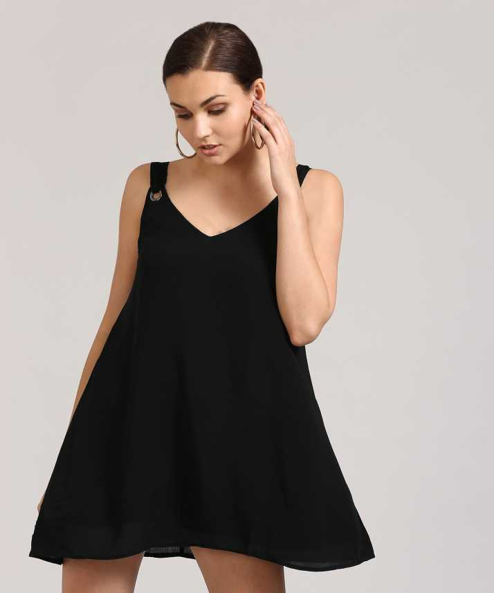ec7ff9250a6 Forever 21 Women s A-line Black Dress - Buy BLACK Forever 21 Women s A-line  Black Dress Online at Best Prices in India