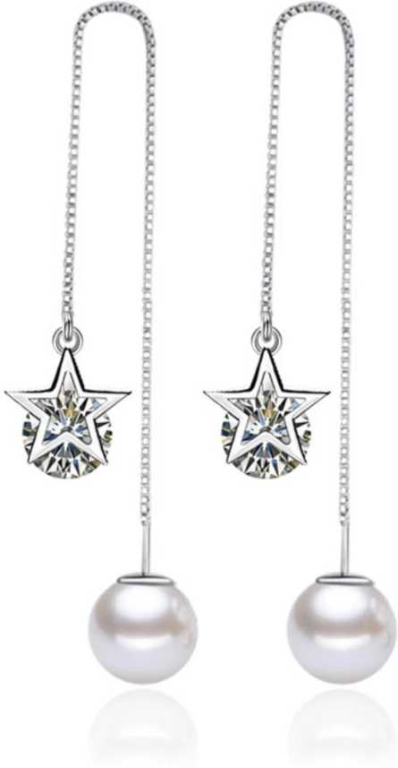 16eb927e479e7 MYKI Dazzling Cubic Zircon Sterling Silver Hollow Star Pearl Dangle Earring  For Women & Girls Swarovski Zirconia Sterling Silver Drop Earring