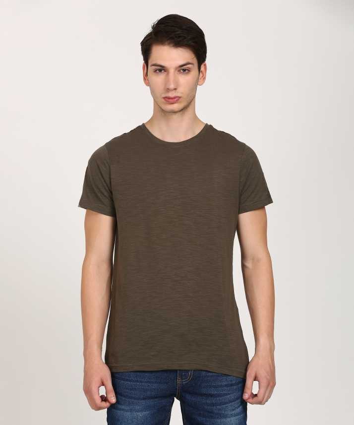SKULT by Shahid Kapoor Self Design Men Round or Crew Green T-Shirt