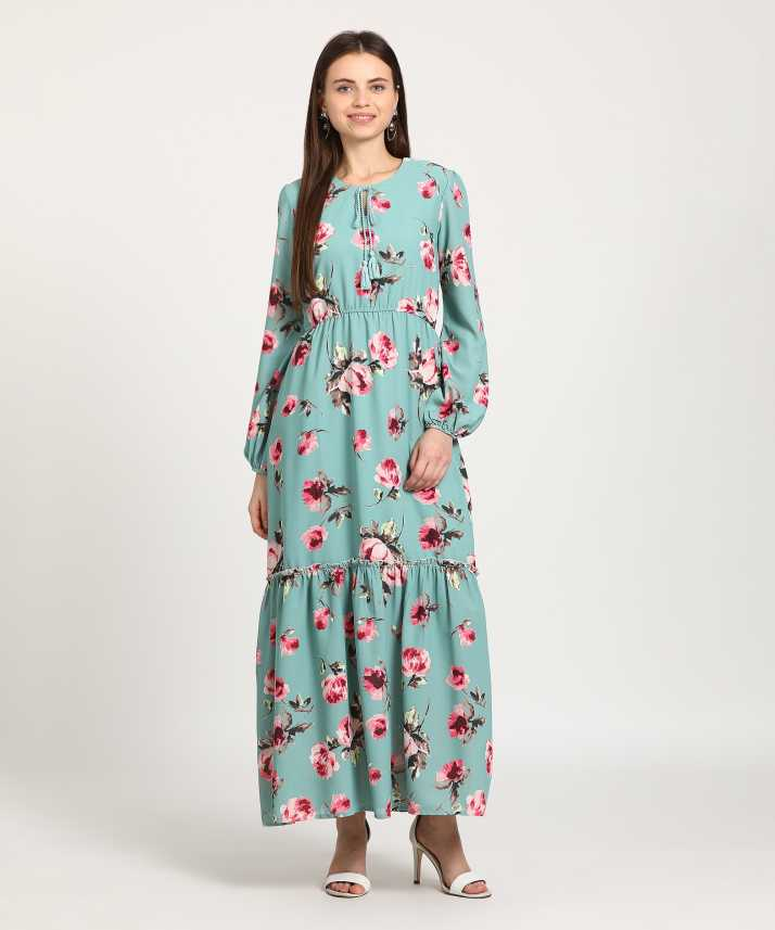 ccbab05b1 Tokyo Talkies Women s Maxi Multicolor Dress - Buy Tokyo Talkies Women s Maxi  Multicolor Dress Online at Best Prices in India