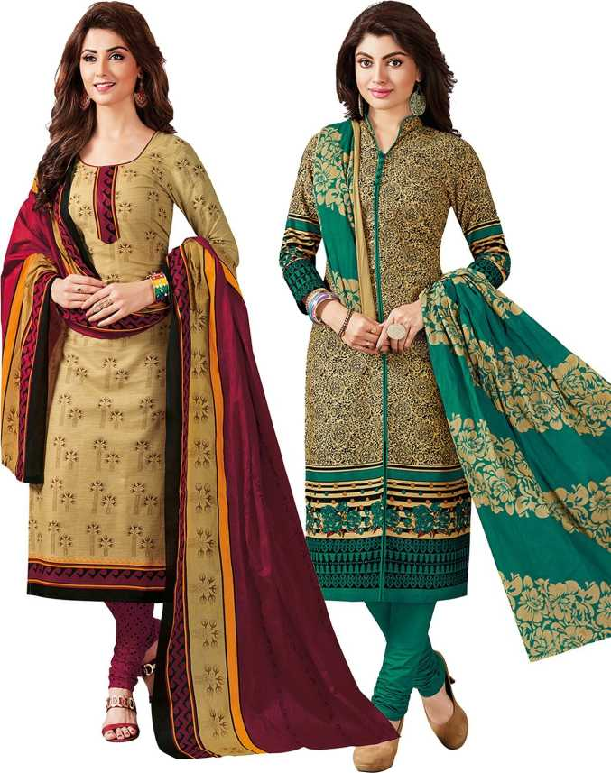 3495e9508b Giftsnfriends Cotton Blend Printed Salwar Suit Material (Unstitched)