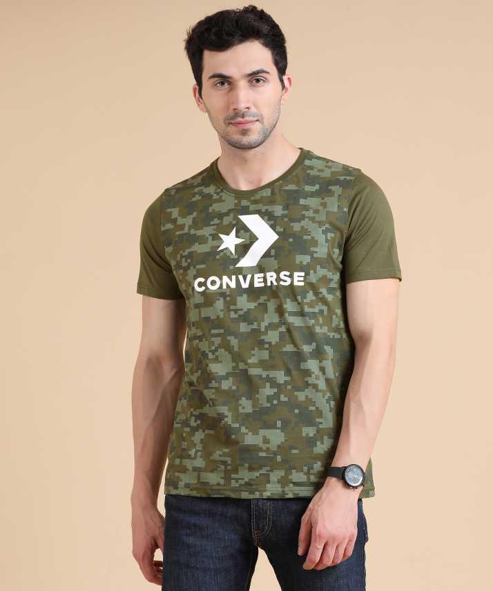 3ef5f389a450 Converse Military Camouflage Men s Round Neck Dark Green T-Shirt - Buy Dark Green  Converse Military Camouflage Men s Round Neck Dark Green T-Shirt Online at  ...