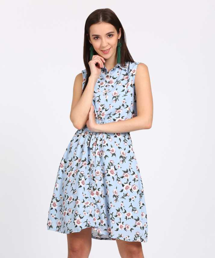8b6c2bc74 Tokyo Talkies Women s Fit and Flare Light Blue Dress - Buy LIGHT BLUE Tokyo  Talkies Women s Fit and Flare Light Blue Dress Online at Best Prices in  India ...