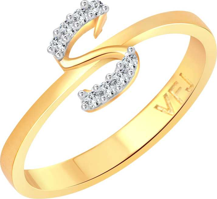 Vighnaharta Initial S Letter Alloy Cubic Zirconia Gold Plated Ring