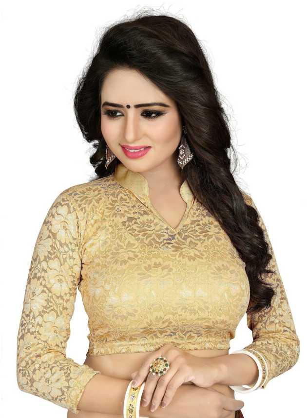 156394b7c87 P DEZAART Band collar Women Blouse - Buy Gold P DEZAART Band collar Women  Blouse Online at Best Prices in India