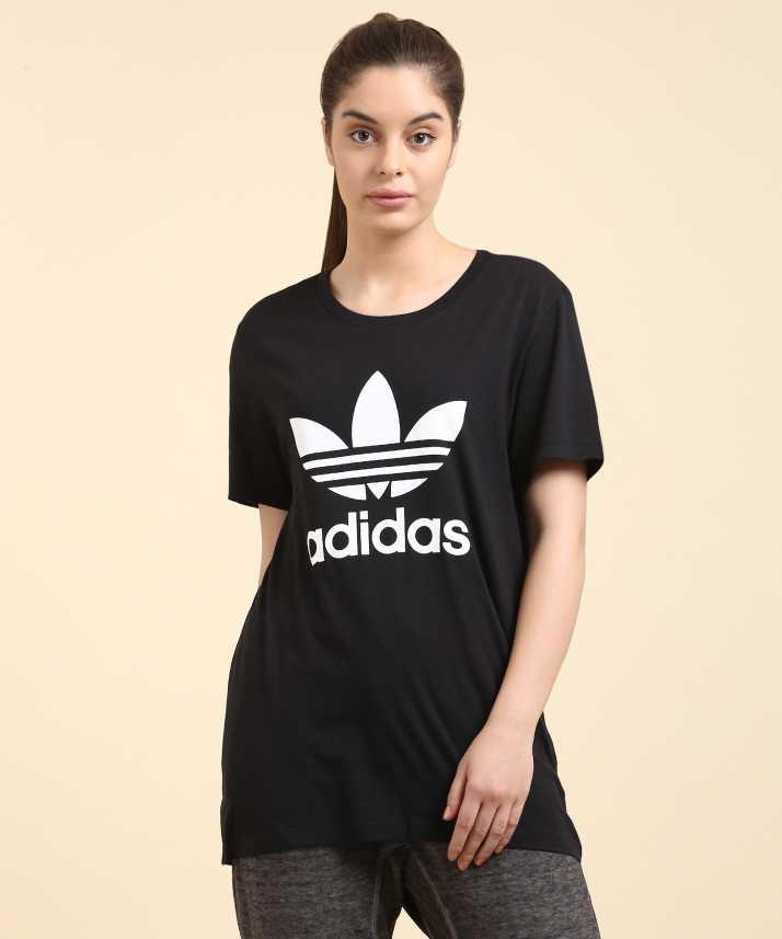 fd28e540 ADIDAS Printed Women's Round Neck Black, White T-Shirt - Buy BLACK ...
