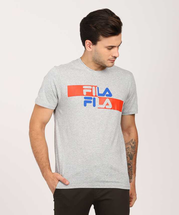 efc58998d8433 Fila Applique Men's Round Neck Grey T-Shirt - Buy Fila Applique Men's Round  Neck Grey T-Shirt Online at Best Prices in India | Flipkart.com