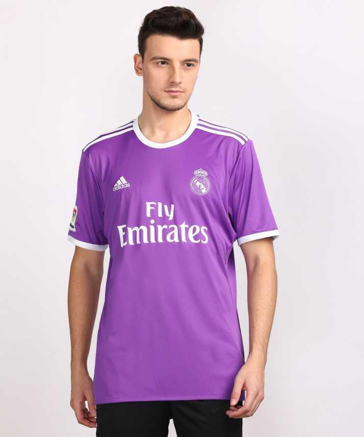 ADIDAS Real Madrid Printed Men Round Neck Purple T-Shirt - Buy ...