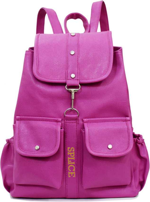 13590af928b300 SPLICE PU Leather Backpack School Bag Student Backpack Women Travel bag 6 L  Backpack (Purple)