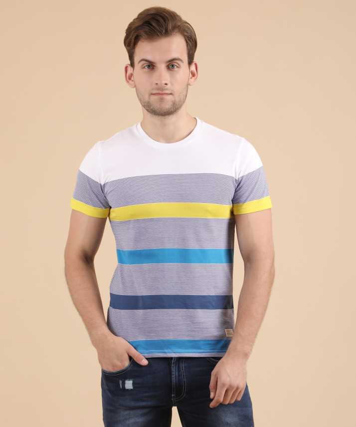 2758caed54 United Colors of Benetton Striped Men Round or Crew Multicolor T-Shirt -  Buy United Colors of Benetton Striped Men Round or Crew Multicolor T-Shirt  Online ...