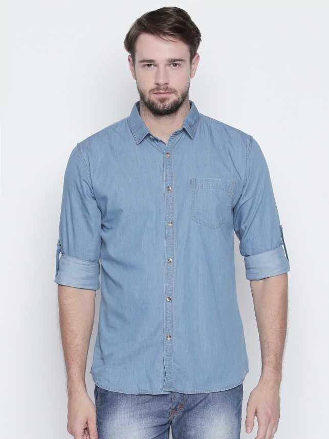 64cd82f0133f Roller Fashions Men Solid Casual Light Blue Shirt - Buy Roller ...