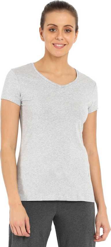 6890c830c1f443 Jockey Women s T-Shirt - Buy Light Grey Melange Jockey Women s T-Shirt  Online at Best Prices in India