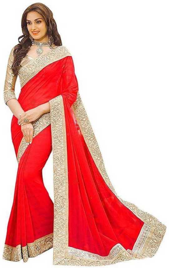 Online Bazaar Embroidered Fashion Georgette, Chiffon Saree