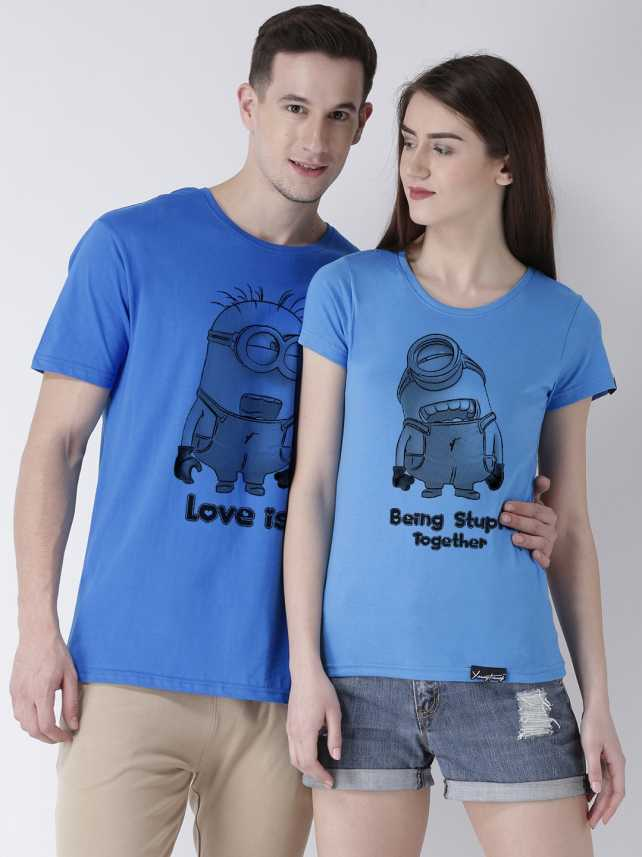 919b344e1a8 DUO COUPLE Typography, Graphic Print Men & Women Round Neck Blue, Dark Blue  T-Shirt