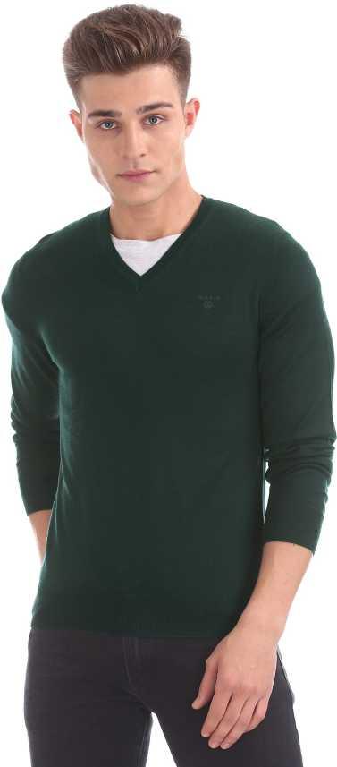 Gant Solid V neck Casual Men Green Sweater Buy Gant Solid