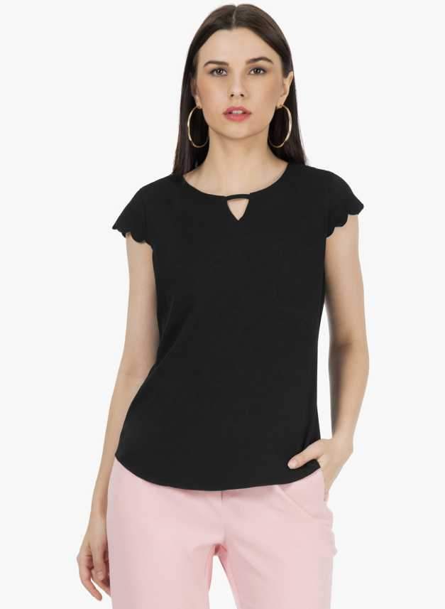 71fff4262be FabAlley Formal Cap Sleeve Solid Women Black Top - Buy FabAlley Formal Cap  Sleeve Solid Women Black Top Online at Best Prices in India