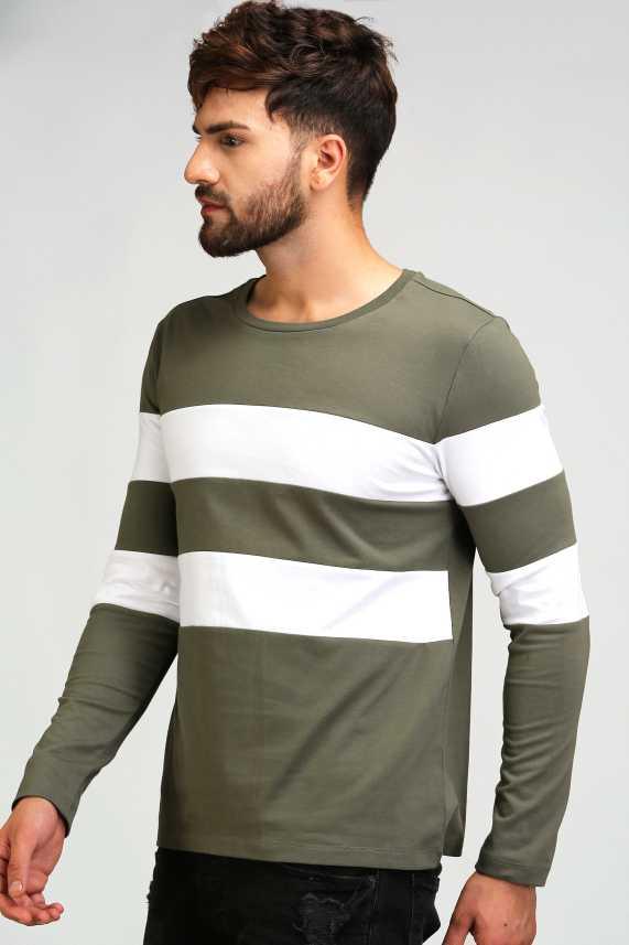 3101c77b2 Aelomart Striped Men Round Neck Light Green, White T-Shirt - Buy Aelomart  Striped Men Round Neck Light Green, White T-Shirt Online at Best Prices in  India ...