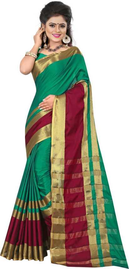 955dcba6cf4321 The Fashion Outlets Woven Kanjivaram Cotton Blend, Art Silk Saree ( Multicolor)