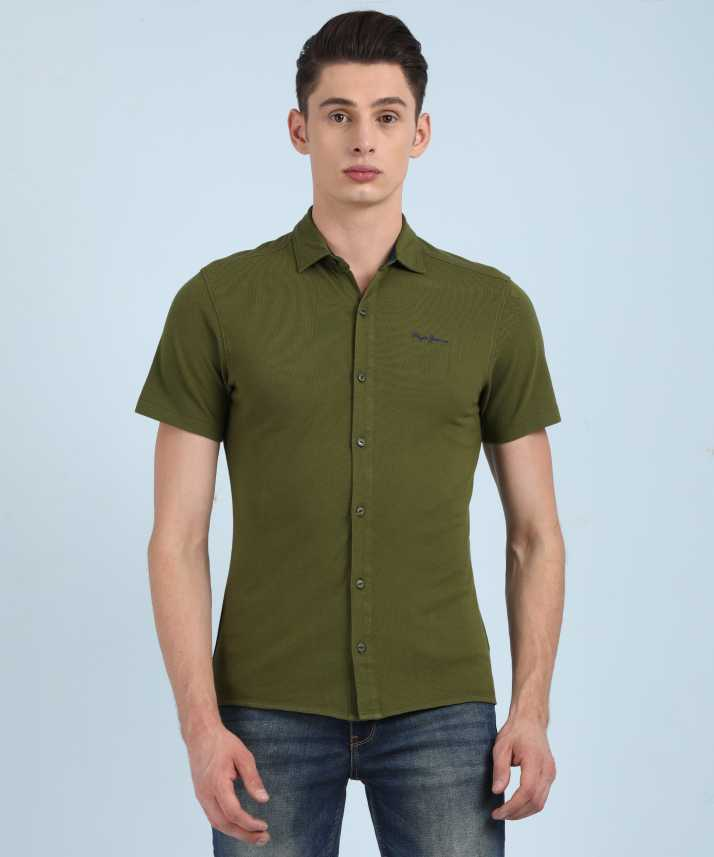 0f4764a459e Pepe Jeans Men s Solid Casual Green Shirt - Buy OLIVE Pepe Jeans ...