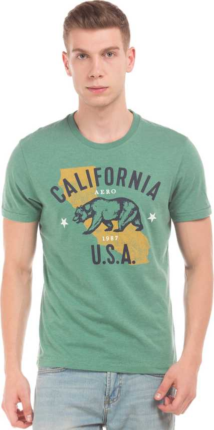 093a437642ec21 Aeropostale Graphic Print Men Round Neck Green T-Shirt - Buy ...