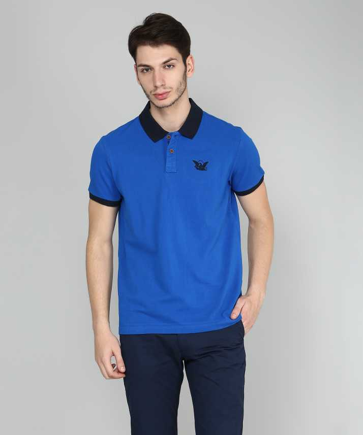 8a2c5739e3 Solid Men Polo Neck Blue T-Shirt - Buy ARROW BLUE JEANS CO. Solid Men Polo  Neck Blue T-Shirt Online at Best Prices in India